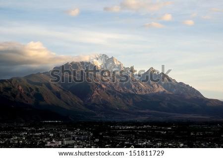 Jade Dragon Snow Mountain near Lijiang, in Yunnan province, southwestern China - stock photo