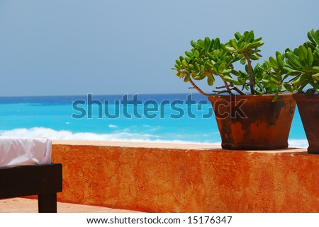 Jade plants and spa bed with caribbean ocean in background - stock photo