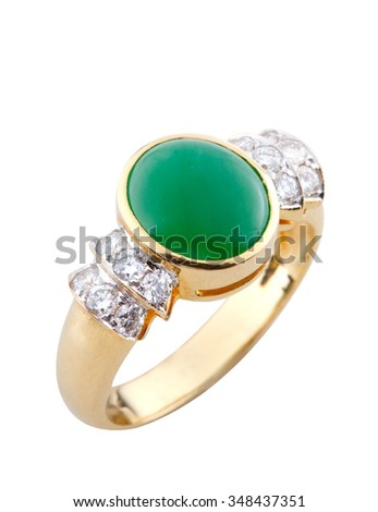 Jade with diamond gold ring isolated on white background. - stock photo