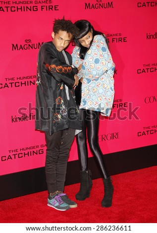 """Jaden Smith and Willow Smith at the Los Angeles premiere of """"The Hunger Games: Catching Fire"""" held at the Nokia Theatre L.A. Live in Los Angeles on November 18, 2013. - stock photo"""