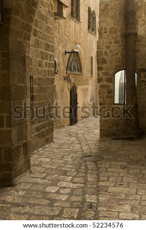 Jaffa ,an Alley in the old city, Jaffa is part of Tel Aviv city in Israel - stock photo