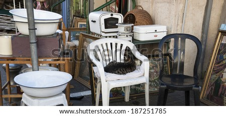 JAFFA, ISRAEL - FEBRUARY 18, 2014: Junk kitchenware and cat, as hostess, sitting on chair at flea market. Jaffa flea market (Shuk Hapishpeshim) is one of tourist main attractions in Jaffa and Tel Aviv