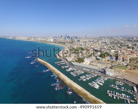 Jaffa's old city and port with Tel Aviv skyline in the background