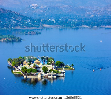 Jag Mandir Palace, Lake Pichola, Udaipur, Rajasthan, India, Asia - stock photo