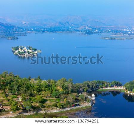 Jag Mandir Palace, Lake Pichola, Udaipur, Rajasthan, India, Asia - stock photo