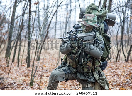 Jagdkommando soldier Austrian special forces equipped with Steyr assault rifle during the raid - stock photo