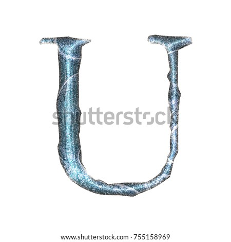Jagged edge blue ice style uppercase or capital letter U in a 3D illustration with a cold light blue cracked ice surface finish and jagged edge font isolated on a white background with clipping path.