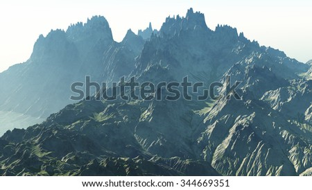 Jagged rocky cliffs in the late afternoon sun - 3d render. - stock photo