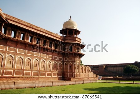 Jahangiri Mahal at Agra Fort.  Jahangiri Mahal is a prominent palace at Agra Fort. It was built by Mughal emperor Akbar sometime during 1565-73. - stock photo