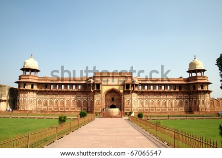 Jahangiri Mahal at Agra Fort. Jahangiri Mahal is the most prominent palace at Agra Fort. It was built by Mughal emperor Akbar sometime during 1565-73. - stock photo