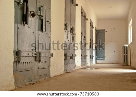 Jail cells at the Old Boise Penitentiary in Boise, Idaho - stock photo