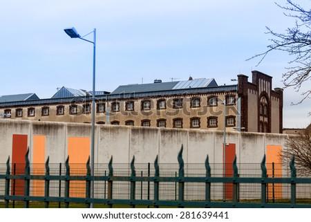 jail.  Large prison.  Prison wall - stock photo