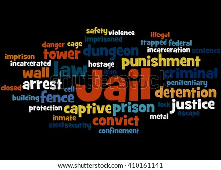 Jail, word cloud concept on black background.