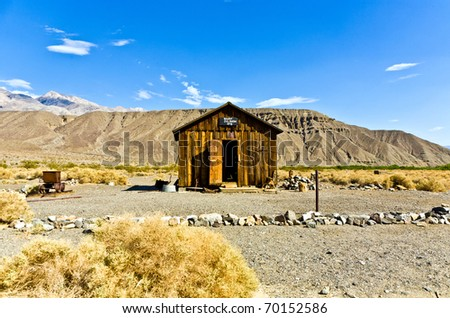 Jailhouse of Ballarat, a ghost town in Inyo County, California that was founded in 1896 as a supply point for the mines in the canyons of the Panamint Range - stock photo