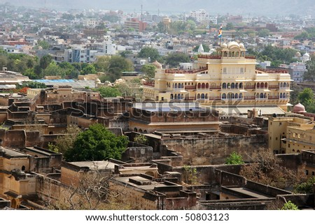 Jaipur city palace view, India - stock photo