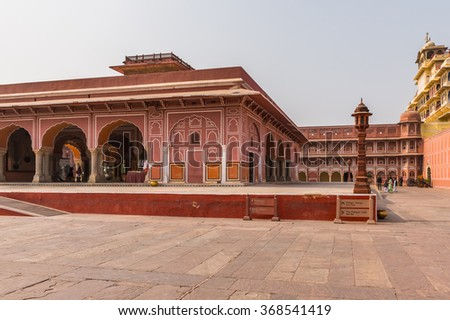 JAIPUR, INDIA - JAN 19, 2016: City Palace, a palace complex in Jaipur, Rajasthan, India. It was the seat of the Maharaja of Jaipur, the head of the Kachwaha Rajput clan.