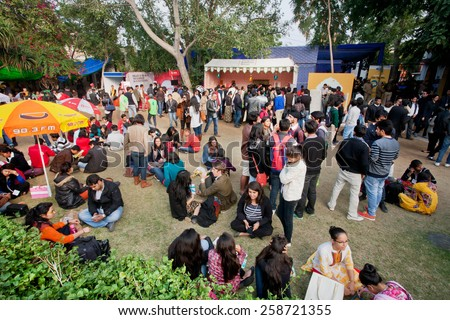 JAIPUR, INDIA - JAN 21: Crowded courtyard of the Jaipur Literature Festival on January 21, 2015. Starts from 2006, the festival is the world's largest free literary festival - stock photo
