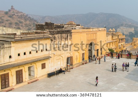 JAIPUR, INDIA - JAN 19, 2016: Part of the Amber Palace, a town near Jaipur, Rajasthan state, India. UNESCO World Heritage Site as part of the group Hill Forts of Rajasthan.