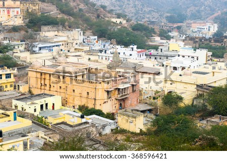 JAIPUR, INDIA - JAN 19, 2016: Town around the Amber Palace, a town near Jaipur, Rajasthan state, India. UNESCO World Heritage Site as part of the group Hill Forts of Rajasthan.