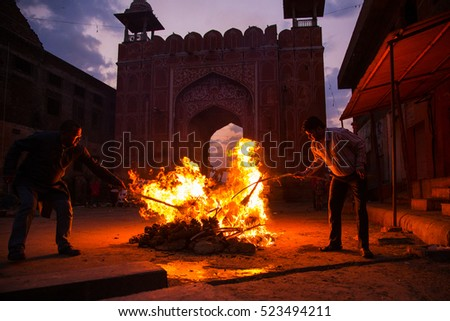 Jaipur, India - Mar 5, 2015: Holika dahan. Holi, also known as the festival of colours or the festival of sharing love