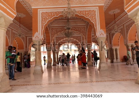 Jaipur, India - March, 24, 2016: City Palace is a landmark in Jaipur and is also a very popular tourist hotspot. The City Palace is a must-see while sightseeing in Jaipur.