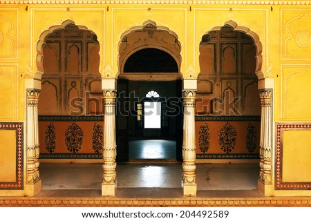 JAIPUR, INDIA - MARCH 08: Interior mughal architectural details of Nahargarh Fort, March 08, 2012, - stock photo