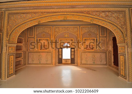 Jaipur, India - November 18, 2017: Interior architectural pattern of Nahargarh fort.