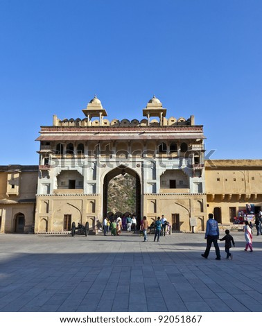JAIPUR, INDIA - NOVEMBER 12: people visit the famous Amer Fort on November 12, 2011 in Jaipur, India. Amer Fort, as it stands now, was built during the reign of Raja Man Singh in 1592.