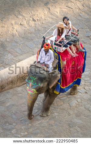 JAIPUR, INDIA - NOVEMBER 26: Tourists on an elephant ride tour near by the palace of the Amber Fort on November 26, 2012 in Jaipur, India. - stock photo