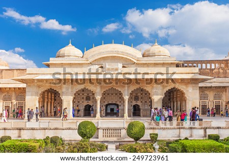 JAIPUR, INDIA - OCTOBER 09: Amer Fort outside Jaipur in Rajasthan is one of the major tourist attractions in India on October 09, 2013, Jaipur, India. - stock photo