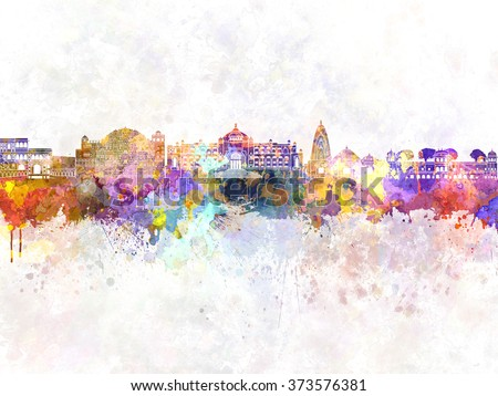 Jaipur skyline in watercolor background - stock photo