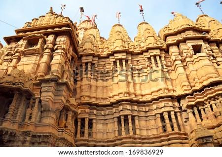 JAISALMER  DECEMBER 22: Jain temples on December 22, 2013 in Jaisalmer,India.Jain temples were built in the fifteenth and sixteenth centuries within the Jaisalmer fort. - stock photo