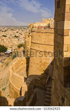 Jaisalmer Fort with town in the background, Jaisalmer, Rajasthan, India - stock photo