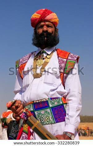 JAISALMER, INDIA - FEBRUARY 16: Unidentified man takes part in Mr Desert competition on February 16, 2011 in Jaisalmer, India. Main purpose of this Festival is to display colorful culture of Rajasthan