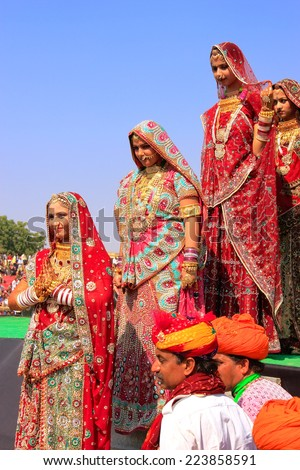 JAISALMER, INDIA - FEBRUARY 16: Unidentified women take part in Desert Festival on February 16, 2011 in Jaisalmer, India. Main purpose of this Festival is to display colorful culture of Rajasthan - stock photo