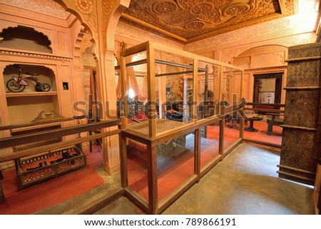 Jaisalmer, India - November 10, 2017: Interior architecture of patwon ki haveli.