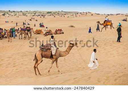 JAISALMER, INDIA - OCTOBER 13: Unidenfified people and camels in Thar desert on October 13, 2013, Jaisalmer, India.  - stock photo