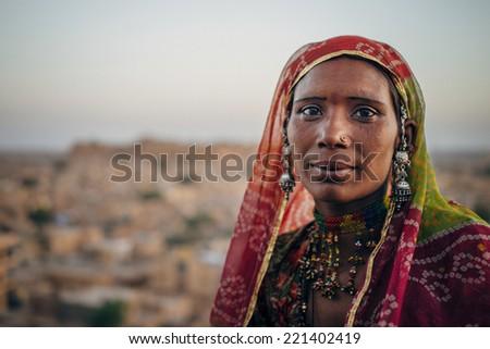 JAISALMER - MARCH 22 : women posing in the street on March 22 , 2014 in Jaisalmer,India - stock photo