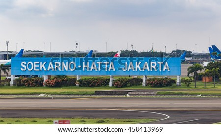 JAKARTA, INDONESIA - JULY 25, 2016: Soekarno-Hatta International Airport, abbreviated SHIA or Soetta, is the primary airport serving the Greater Jakarta area on the island of Java, Indonesia.