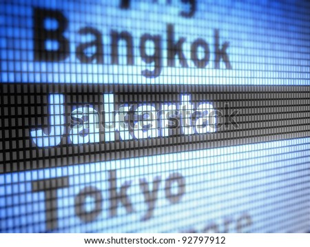 Jakarta. World capitals Full collection of icons like that is in my portfolio - stock photo