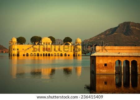 Jal Mahal Palace on Man Sagar Lake. Jaipur, India. Toned image with vignette - stock photo