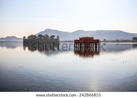 Jal Mahal, The Water Palace in Man Sagar Lake in Jaipur, Rajasthan, India - stock photo