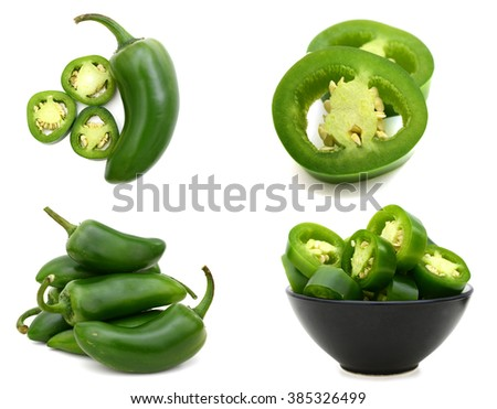 Jalapeno peppers on a white background - stock photo