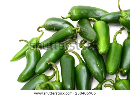 jalapeno peppers on white background  - stock photo