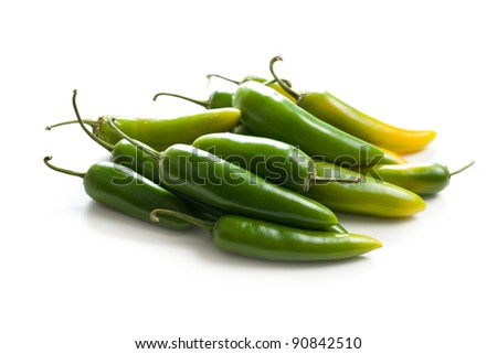 Jalapenos Chili Peppers on white background - stock photo