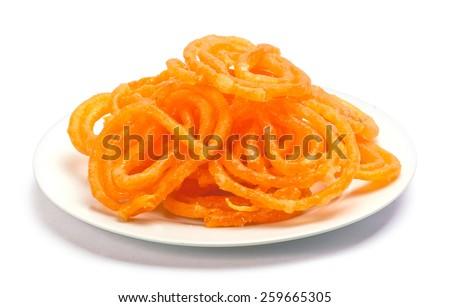 jalebi Indian sweet dish isolated on white background - stock photo