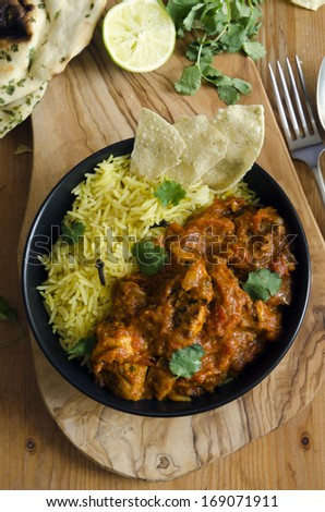 Jalfrezi Indian chicken curry with pilau rice