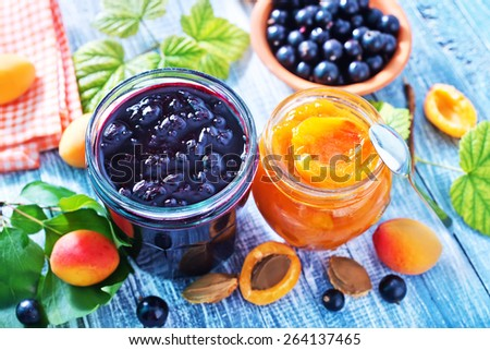 jam in glass bank - stock photo