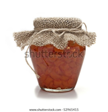 jam in glass jar isolated on white background - stock photo