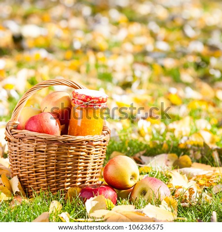 Jam in jar and basket full of red juicy apples on yellow leaves. Autumn harvest concept